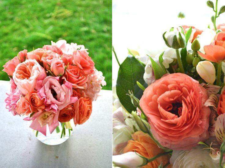coral ranunculus coral spray rose coral garden rose arrangement utah wedding flowers calie rose