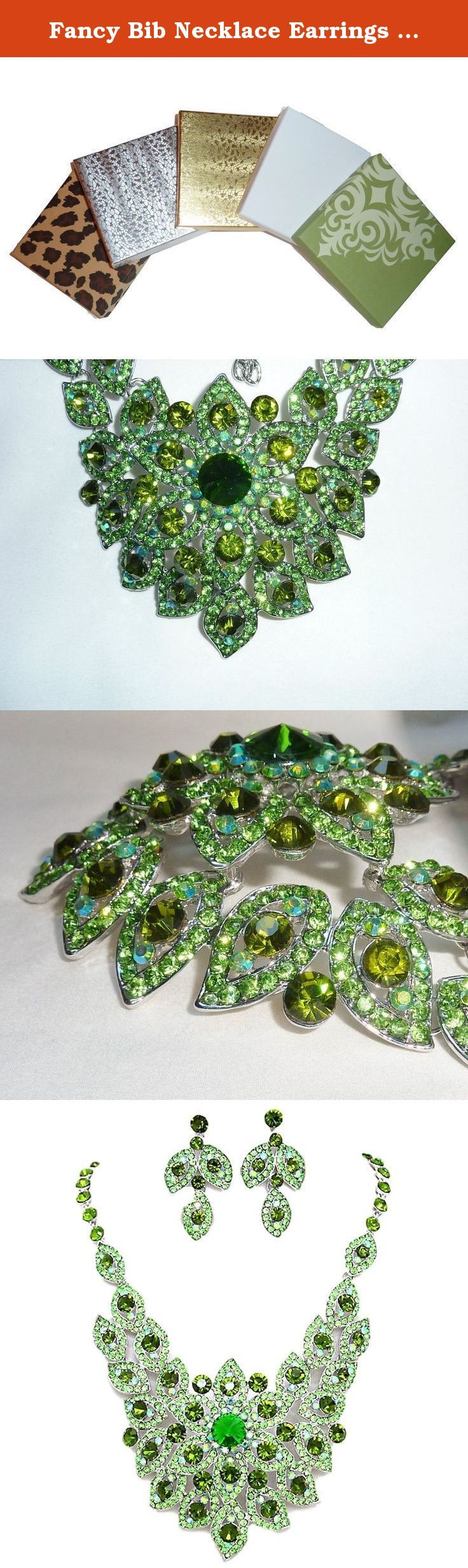 Fancy Bib Necklace Earrings Set Green Crystal Rhinestone Silver Tone Post. This Elegant Necklace and Earrings Set is Perfect for any Affair. Stunning Dark and Light Crystal and Rhinestones. Some May See Leaves and Flowers in Necklace. Measures 14 inch plus 3 inch Ext. Earrings Measure 2 inch and have Post. This is a Beautiful Evening Bridal Set. Perfect for Any Formal Affair. Silver Tone. Center of Necklace Sits Slightly Concave. Necklace Makes a Statement. W10-187987] EVN01425-R-GR.