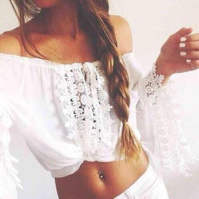 "Bohemian lace crop top..""C'est Bon"""