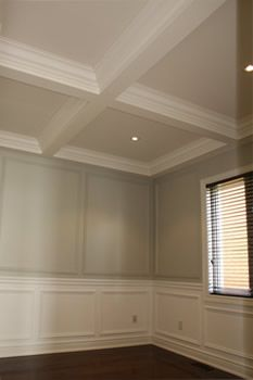 Images picture gallery crown moulding work installtion for Foam coffered ceiling