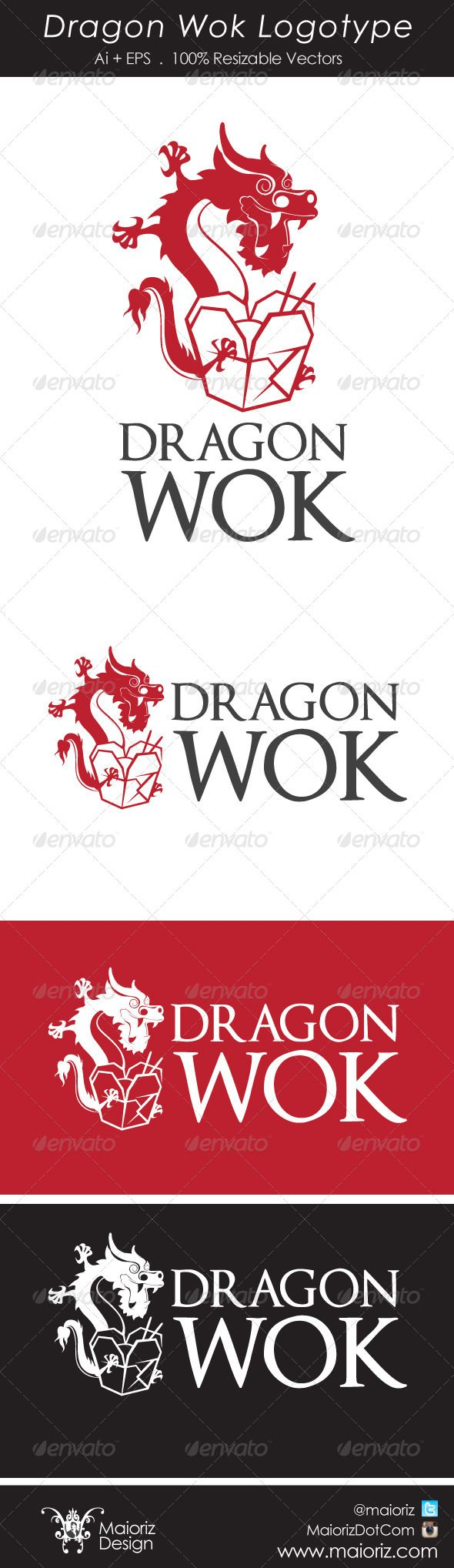 Dragon Wok Logotype ...  brand, business, chinese, chinesse, city, company, cuisine, delivery, dinner, dragon, fast food, food, gastronomy, gourmet, id logo, logotype, lunch, meal, restaurant, success, town food, trade mark, wok