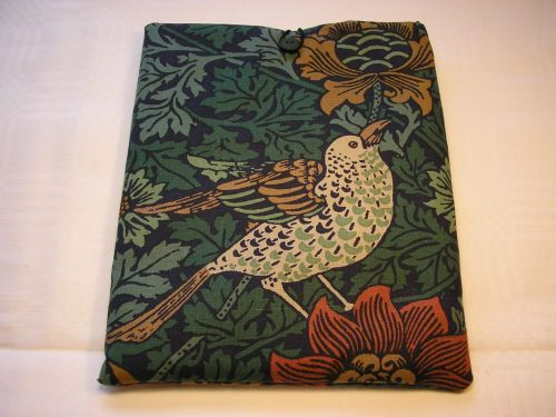 "I-pad Cover in Wm. Morris ""Bird & Anemone"" Padded Cotton"