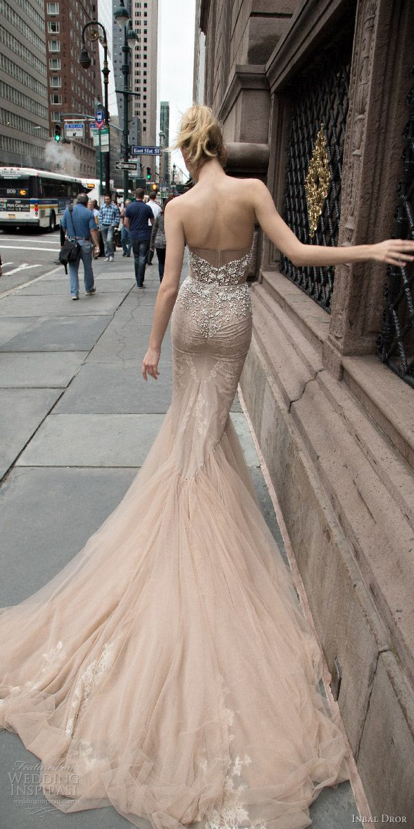 inbal dror 2016 wedding dress with strapless sweetheart fit flare mermaid wedding dress taupe color train style 05 bkv 1 / http://www.deerpearlflowers.com/inbal-dror-fall-wedding-dresses-2016-new-york-colletion/
