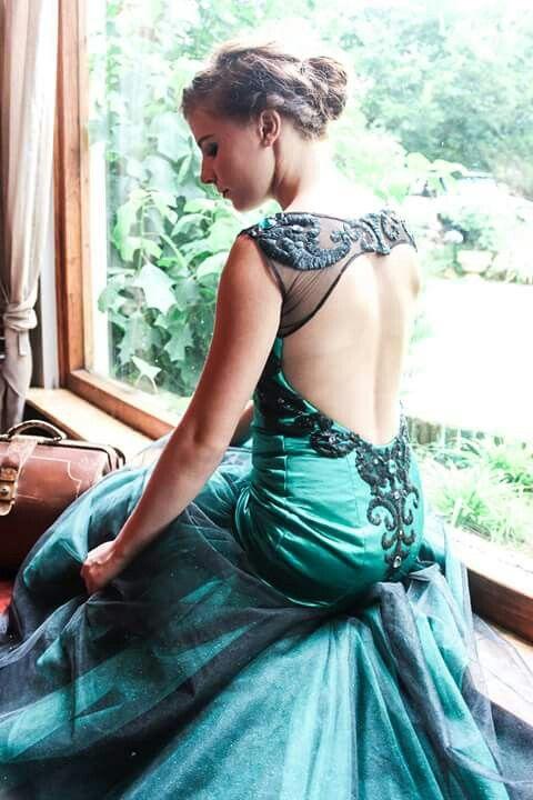 Emerald green dress open back by Lilly van D