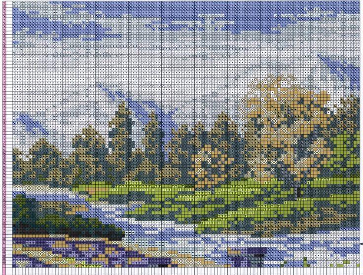 Летний пейзаж  Схема вышивки