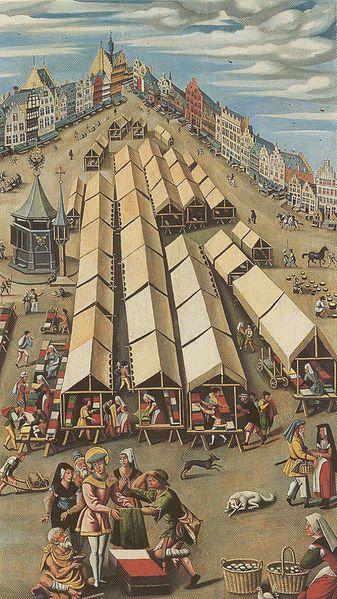 De lakenmarkt te 's-Hertogenbosch circa 1530 Jeronimus Bosch