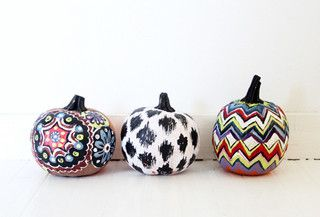 painted pumpkins in ikat, suzani and chevron prints!