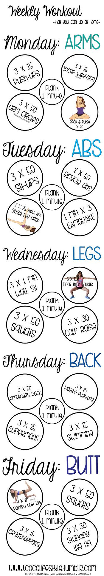 Perfect! I've been looking for something like this!   Weekly workout you can do at home