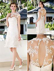Vestido de Noiva Trapézio/Princesa Transparente Longuete (Renda)