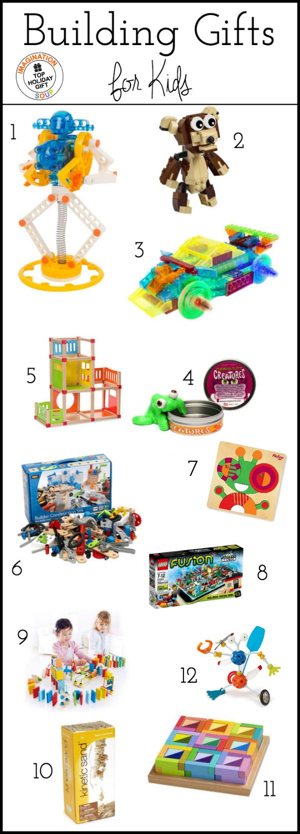 Top learning toys for building S.T.E.A.M. (science, technology, engineering, arts, and math) and fine motor, concentration, and visual-spatial skills. List includes age range and descriptions for each toy.