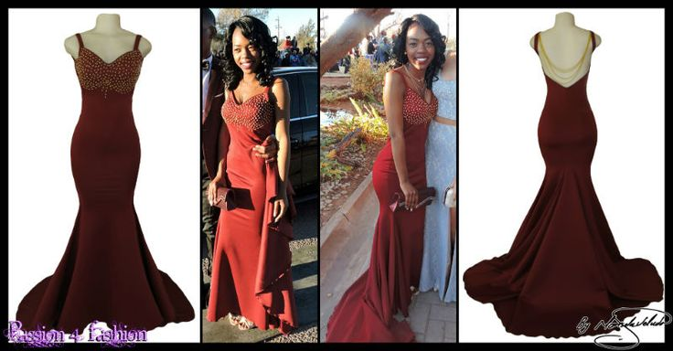 Maroon soft mermaid open back matric dance dress. Bust detailed with gold beads and back with gold chain. With a train.