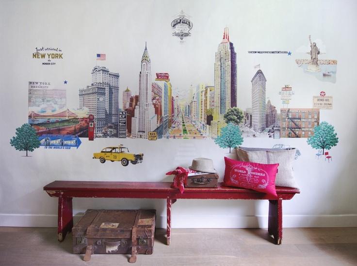 Mural New York CityTravel Memories, New York Cities, Wall Murals, Kids Room, York Wallpapers, Cities Skyline, New York, Wallpapers Collection, Painted Wardrobe