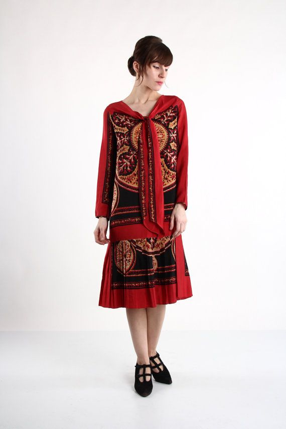 Red Flapper Dress . 1920 Rayon Gown Graphic Print by VeraVague, $400.00