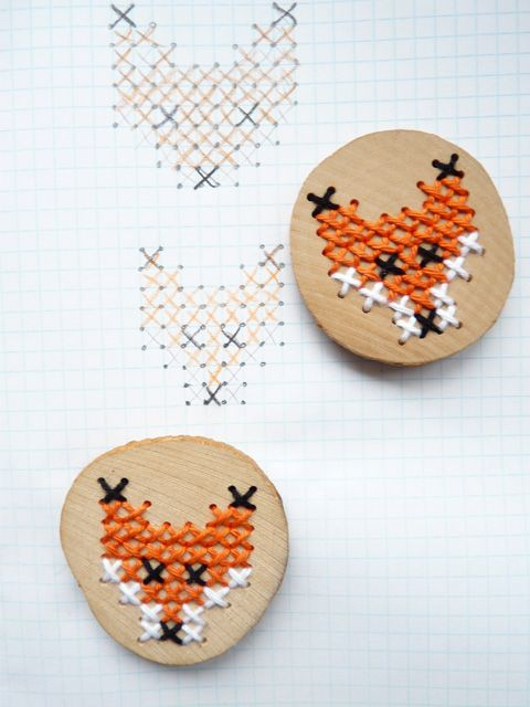 DIY cross stitch foxes