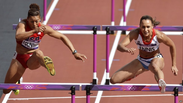Team GB heptathlete Jessica Ennis competes in the 100m hurdles