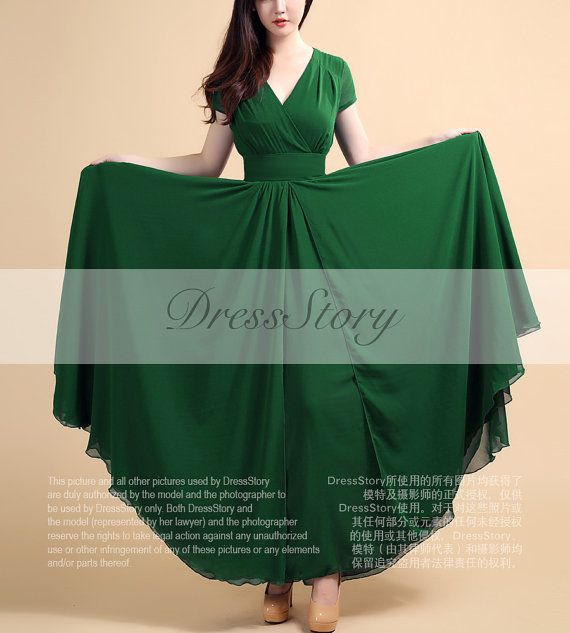 Dark Teal Maxi Dress with Cap Sleeves and Waist Yoke by DressStory