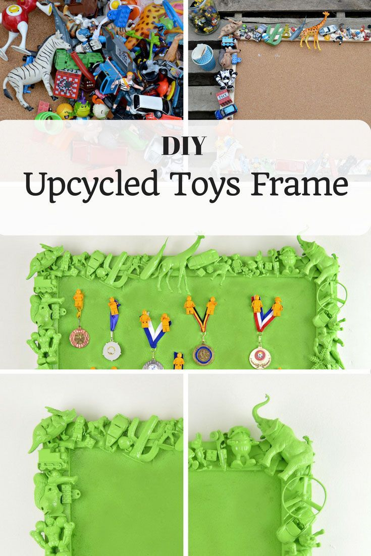 Instead of throwing away your kids old and broken toys, upcycle them to make a fantastic and unique toys frame for their room.