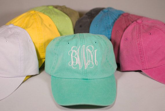 Custom Embroidered Monogram Hat, Embroidered Hat, Summer Hat, Personalized Hat, Custom Hat, Monogrammed Hat, Distressed Hat, Pigment Dyed