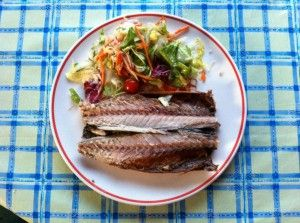 Geräucherte Makrele mit Salat - viele Kalorien und Fett - aber gesund!