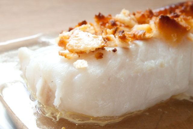New England baked Cod.  YUP!  That's the way it's done!  Heather - Boston, MA.  (PROUDLY!!!!)  PS - Cod, butter, ritz crackers!  :))))