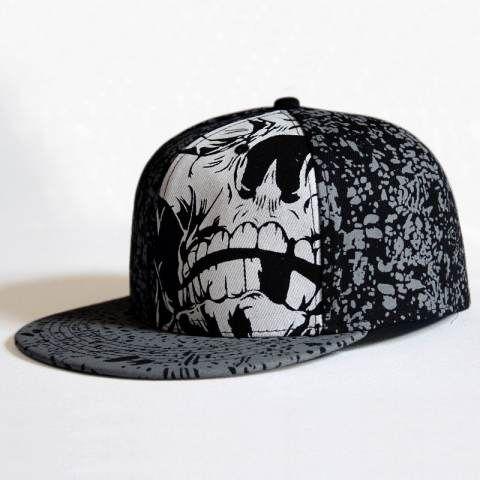 black skull baseball caps hip hop style fashion graffiti leather cap 2016 hat tumblr