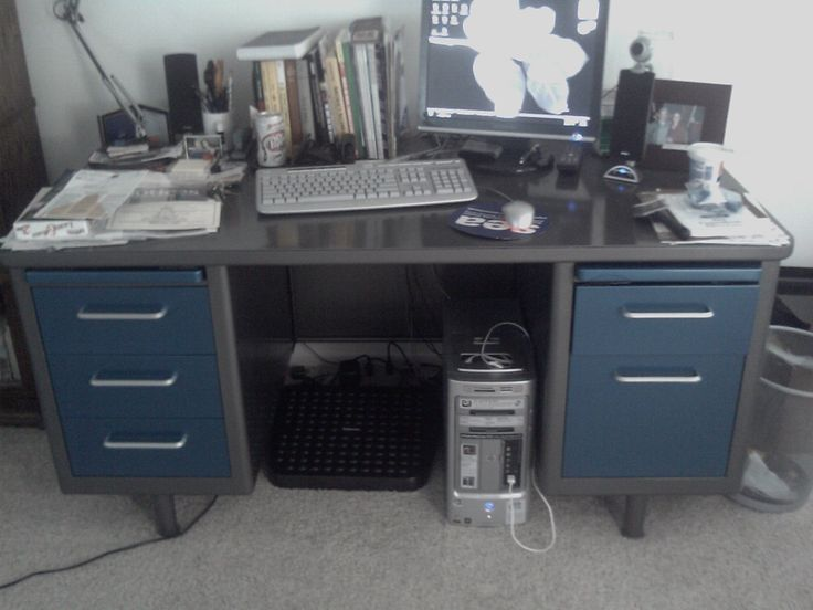 Finished Executive Tanker Desk In Gunmetal Grey With Blue