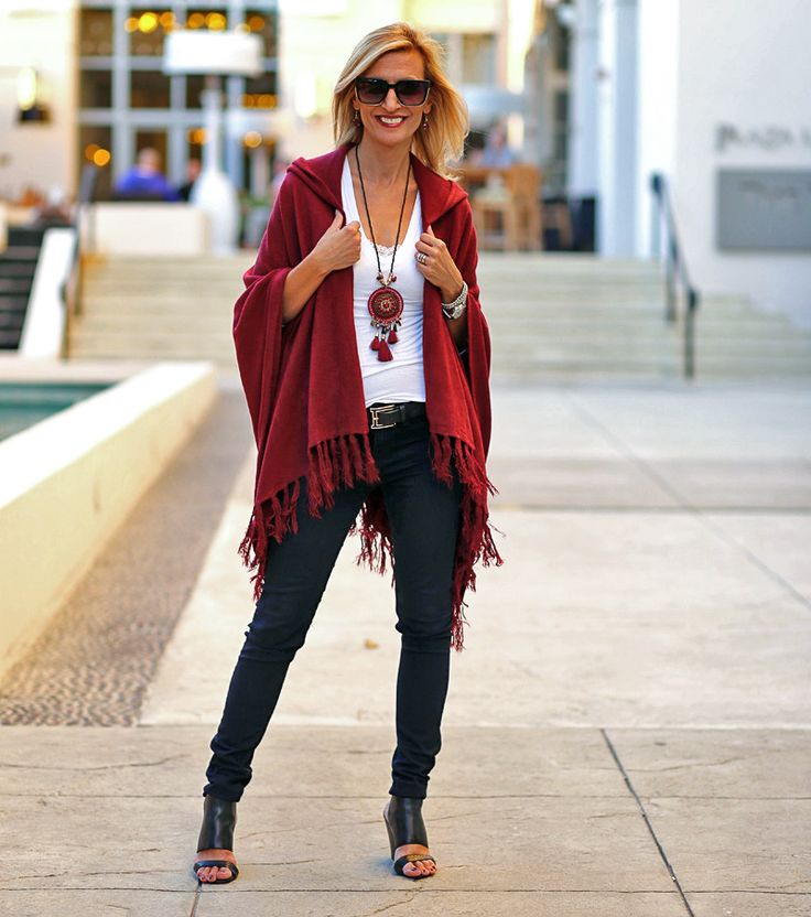 Our Stylish Merlot Hooded Poncho