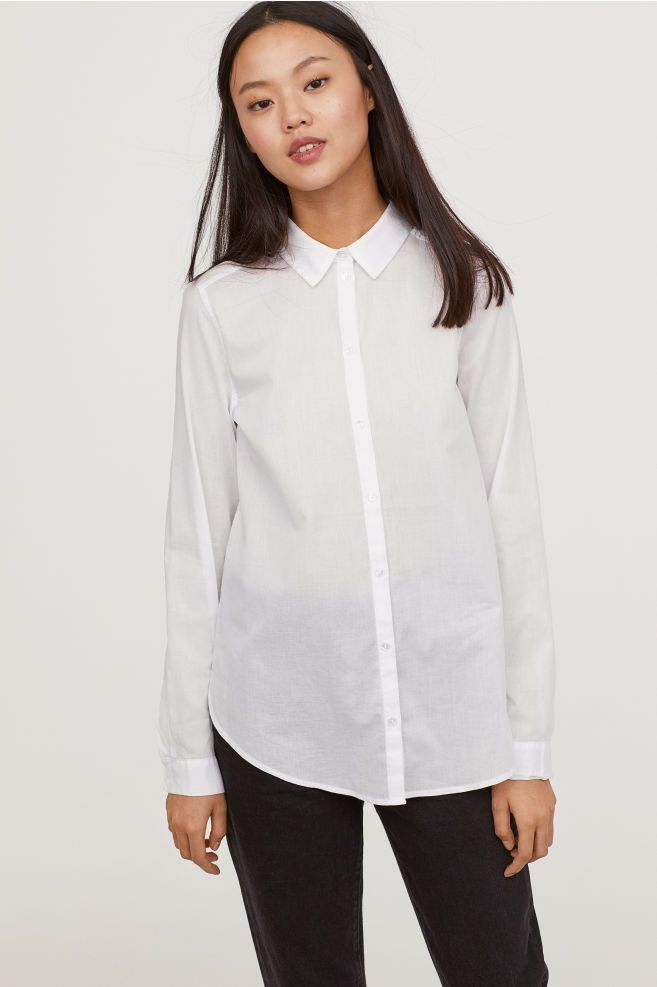 92b02674d311 Cotton Shirt - White - Ladies | H&M US *Layering under a sweater with a  thermal underneath