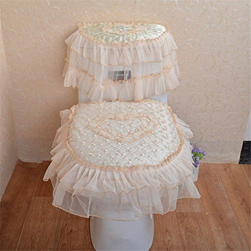 3 Pieces Lace Thicken Toilet Seat Cover/Lid Cover/Tank Cover Set Toilet Mat Part 82