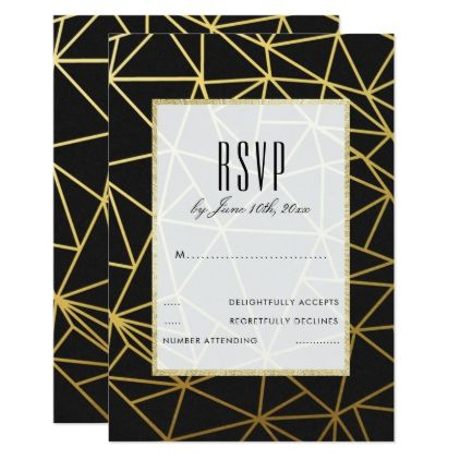 Classy Gold & Black Wedding RSVP Card - gold wedding gifts customize marriage diy unique golden