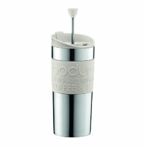 BODUM Travel Press Set Small Coffee Maker with Extra Lid, Vacuum, 0.35 Litre/ 12 oz, Off White// want, want, want.