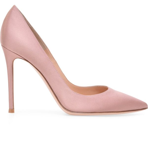 GIANVITO 105 (850 CAD) ❤ liked on Polyvore featuring shoes, pumps, pointed-toe pumps, pointed toe high heel pumps, satin shoes, pointy toe shoes and pink shoes