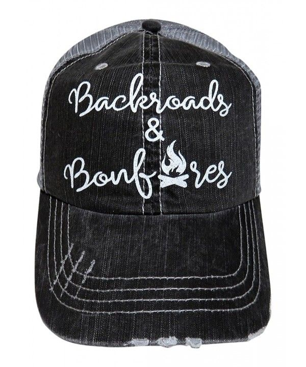 White Glitter Backroads And Bonfires Distressed Look Grey Trucker Cap Cb17y7ed83n Country Hats Cowgirl Hats Cute Hats