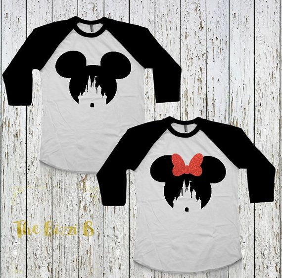 Mickey OR Minnie Castle Raglan Tees, Disney World, Matching Family Shirts, Walt Disney Shirt, Infant Toddler Kids Men's Women's