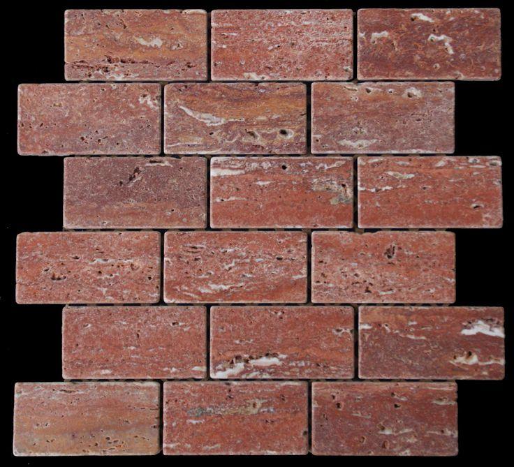 Mozaika marmurowa -  Kolekcja: Brico 510; Kod: B51010; Wykończenie: ANTICO; Materiał: Travertino Red; Wym. Kostki: 5,0x10 cm; Wym. Plastra: 33,5x31,1 cm