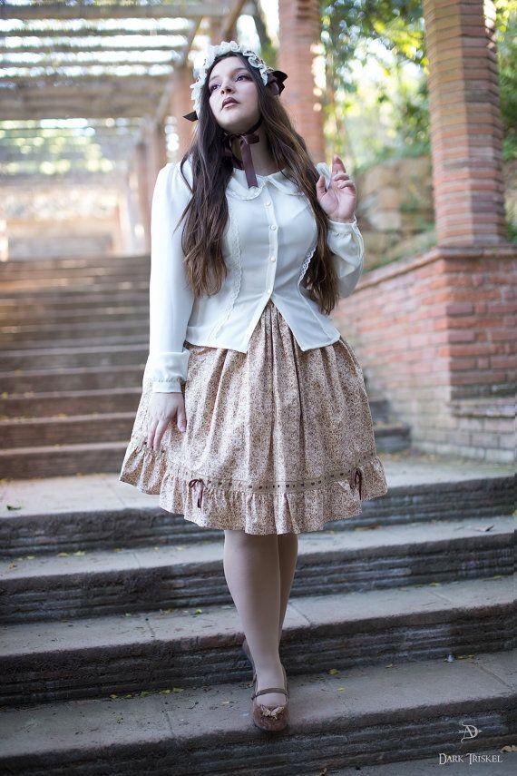 Falda lolita, Falda estilo Victoriano, Falda estampada con motivos florares, Elegante falda estilo romántico, Falda retro, LISTO para ENVIAR