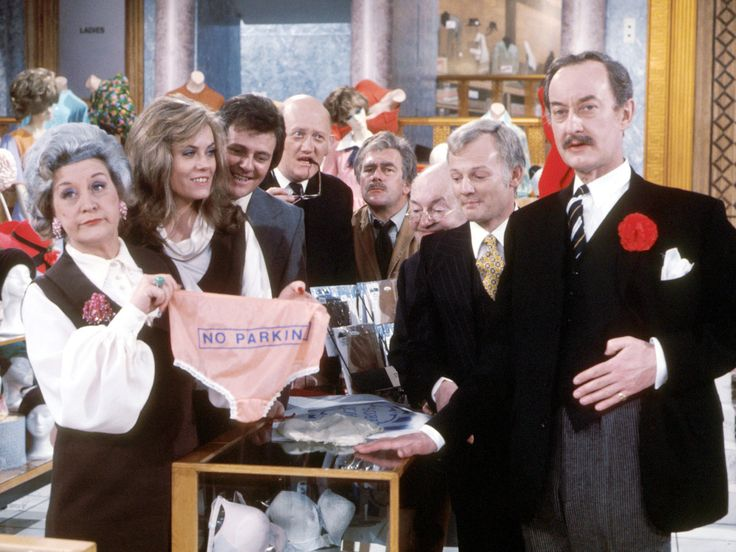 Are You Being Served? - BBC TV series - stars Mollie Sugden, Wendy Richard, Trevor Bannister, Nicholas Smith, Larry Martyn, Arthur Brough, John Inman and Frank Thornton (from left)