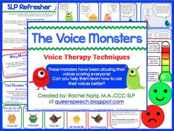 UPDATED: 7/20/2014 Now includes kid friendly language on an expanded cartoon, new click-able links for references, updated pages, voice journal, and more. Targets: Voice Therapy Techniques, specific to vocal nodules (Yawn-Sigh, Resonant Voice Therapy).