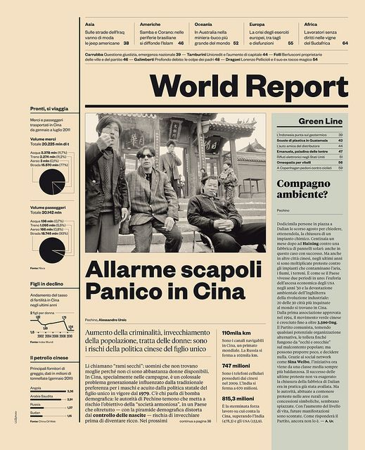 IL magazine — World Report page, designer: Davide Mottes, typefaces: Klim Type Foundry