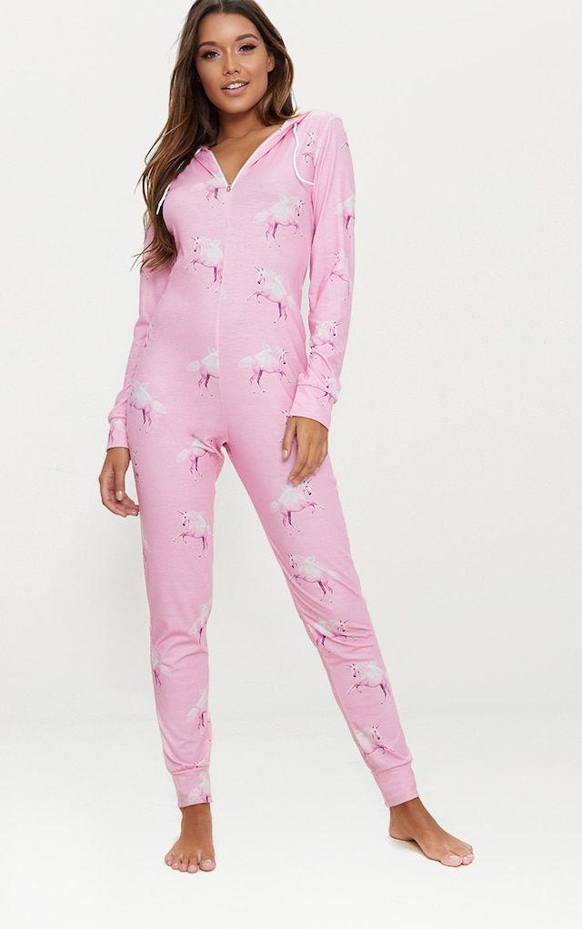 6c2d5238162 PrettyLittleThing Pink Unicorn Print Onesie