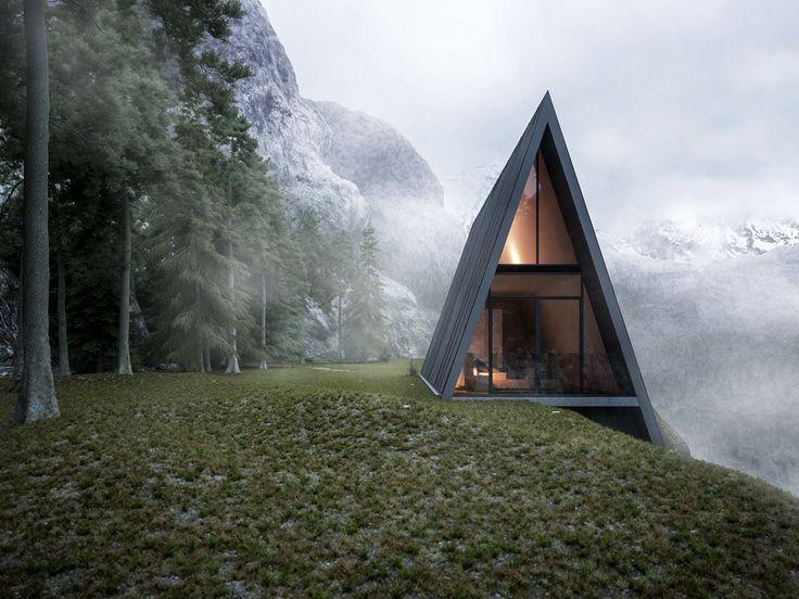 Dreieckiges Haus an Klippe gebaut