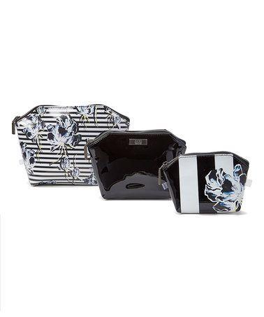 Black & Blue Flower Hexagonal Cosmetic Bag Set #zulily #zulilyfinds