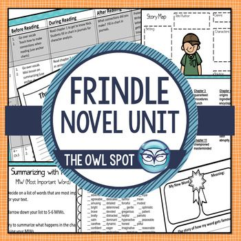 This best selling Frindle Novel Unit Resource Guide is a perfect companion for teaching reading comprehension skills using the book Frindle. This 80+ page novel unit focuses on summarizing, character analysis, cause and effect, story elements and basic reading strategies (visualizing, vocabulary, making connections, etc.).   ...