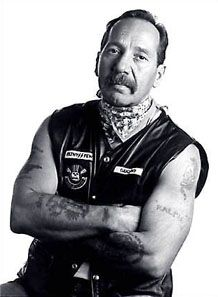 Sonny Barger, one of the founding members of the Hell's Angels.  He might not be a celebrity to you, but as a biker, he's a celebrity.  I met him at a Sturgis run, actually sat around a fire with him and some other Hell's Angels.