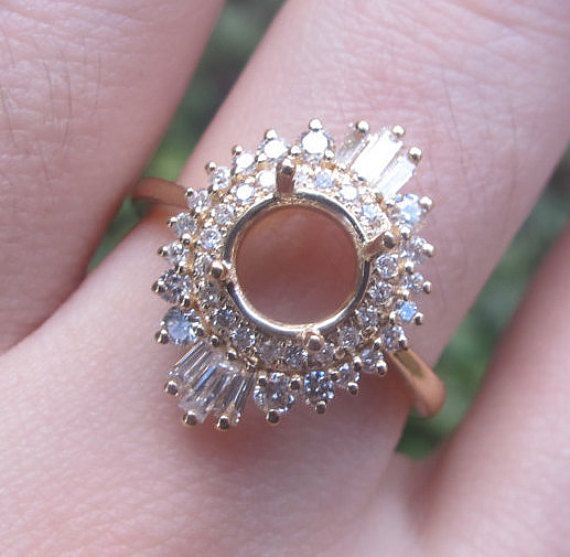 Vintage Style Engagement Ring Gatsby Ring Setting 1920s Ring