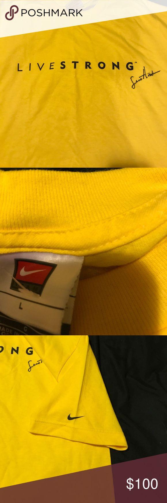 Autographed signed T shirt sz Lrg Lance Armstrong autographed tshirt live strong Nike shirt sz Lrg Nike Shirts Tees - Short Sleeve