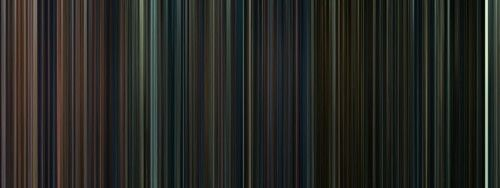 Every frame of the Harry Potter movies, condensed into a barcode.  oh my god look at this how it starts off with reds and oranges and purples bright colors and then it gets continuously darker towards the end it's so fitting to the story and then there is that strip of white at the end which has to be the king's cross scene
