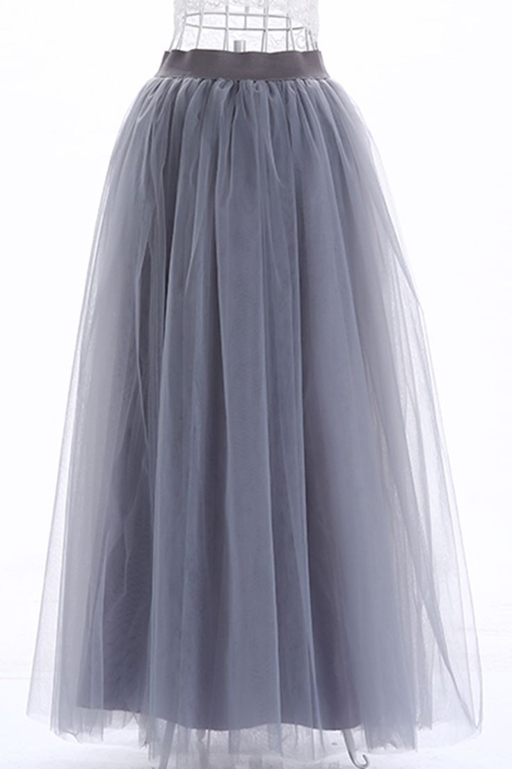Six layer tulle high quality gray long tutu skirts