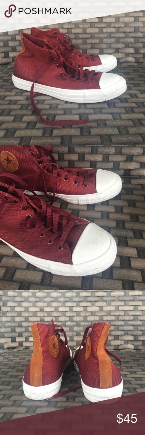 Maroon men's hi top converse 10 Men's 10 women's 12 worn a few times some minor marks that should clean right up. Jansport edition Converse Shoes Athletic Shoes