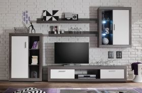 Modern Anthracite And White Gloss TV Stand Wall Unit , With Led Lights ,storage and display cabinets . Check Out more collections . #furnitureinfashion #interiordesign #furniture